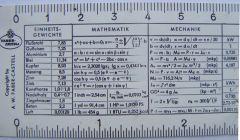 rechenstab 006  Από αριστερά έχουμε ίδια βάρη, μαθηματικά, μηχανική