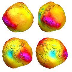 karto 002Τίποτα απ΄όλα αυτά, η γη είναι μία πατάτα όταν την χαρτογραφούμε με γνώμονα την διανομή της βαρύτητας...